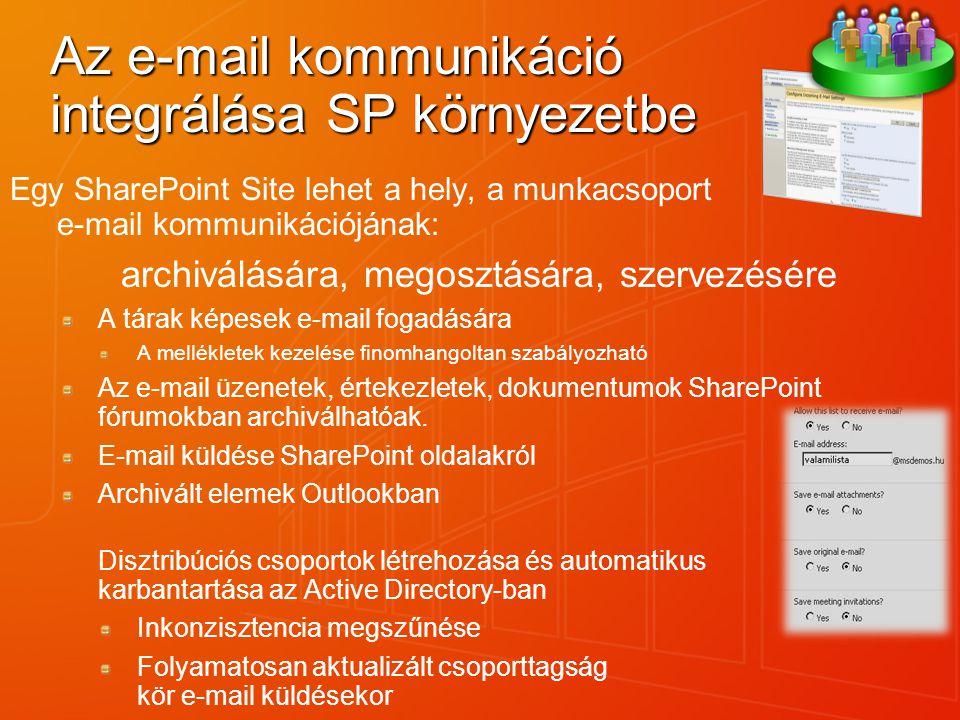 Az e-mail kommunikáció integrálása SP környezetbe Egy SharePoint Site lehet a hely, a munkacsoport e-mail kommunikációjának: archiválására, megosztásá