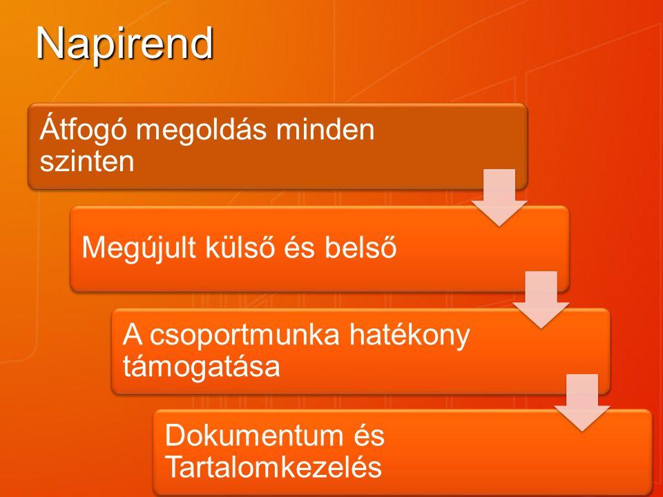 Napirend Átfogó megoldás minden szinten Megújult külső és belső A csoportmunka hatékony támogatása Dokumentum és Tartalomkezelés