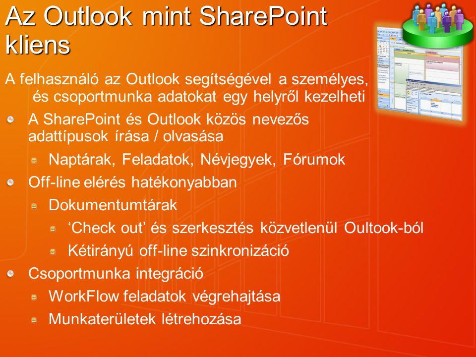 A felhasználó az Outlook segítségével a személyes, és csoportmunka adatokat egy helyről kezelheti A SharePoint és Outlook közös nevezős adattípusok ír