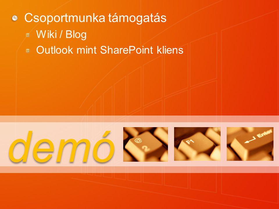 demó Csoportmunka támogatás Wiki / Blog Outlook mint SharePoint kliens