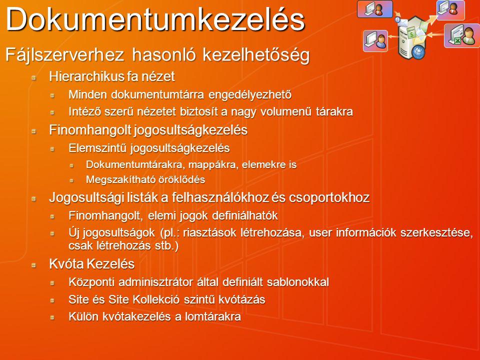 Dokumentumkezelés Fájlszerverhez hasonló kezelhetőség Hierarchikus fa nézet Minden dokumentumtárra engedélyezhető Intéző szerű nézetet biztosít a nagy