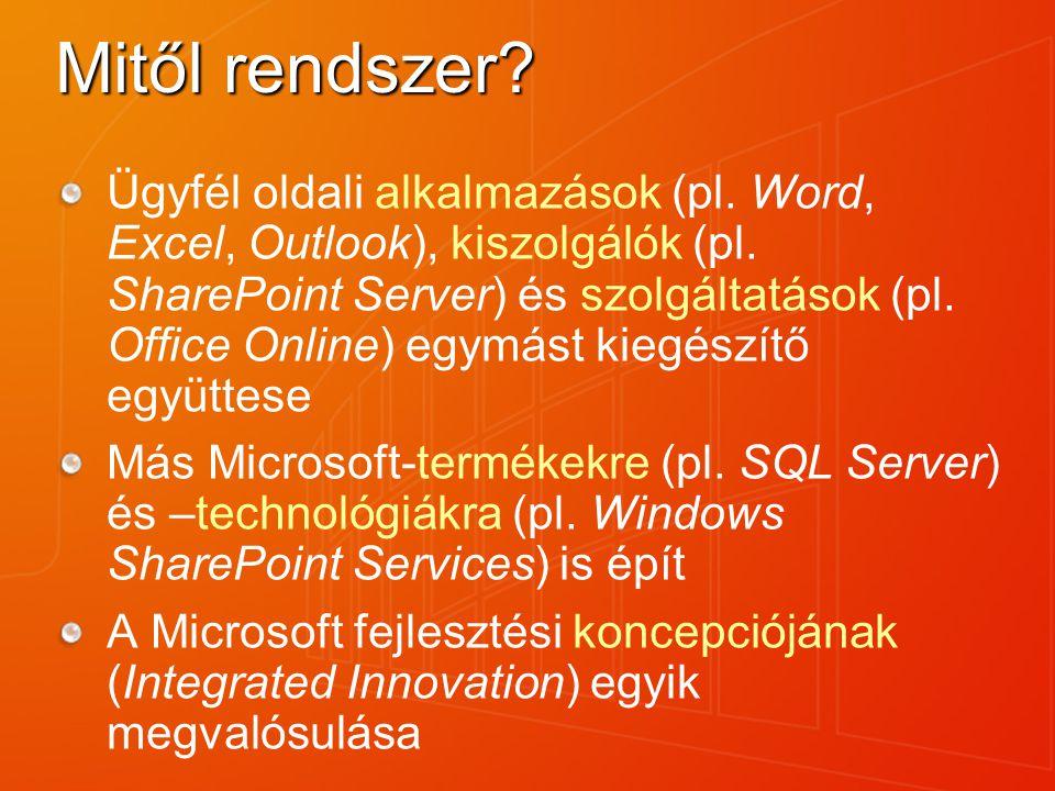 Mitől rendszer? Ügyfél oldali alkalmazások (pl. Word, Excel, Outlook), kiszolgálók (pl. SharePoint Server) és szolgáltatások (pl. Office Online) egymá
