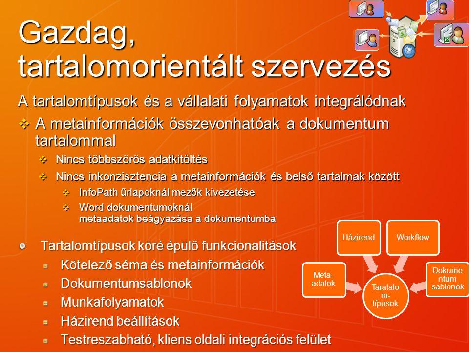 Gazdag, tartalomorientált szervezés A tartalomtípusok és a vállalati folyamatok integrálódnak  A metainformációk összevonhatóak a dokumentum tartalom