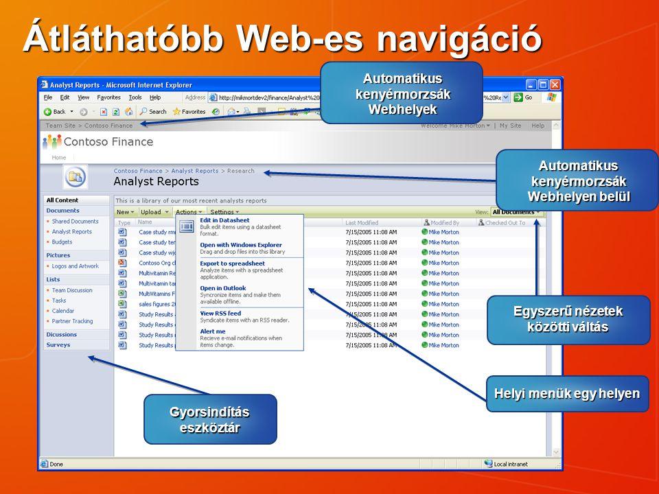 Helyi menük egy helyen Egyszerű nézetek közötti váltás Automatikus kenyérmorzsák Webhelyen belül Gyorsindítás eszköztár Átláthatóbb Web-es navigáció A