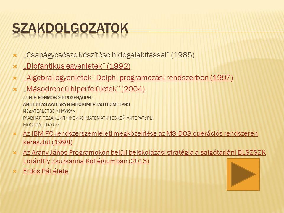 """ """"Csapágycsésze készítése hidegalakítással"""" (1985)  """"Diofantikus egyenletek"""" (1992) """"Diofantikus egyenletek"""" (1992)  """"Algebrai egyenletek"""" Delphi p"""