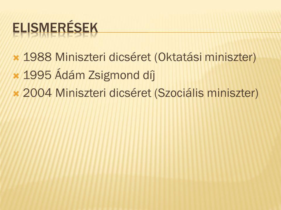  1988 Miniszteri dicséret (Oktatási miniszter)  1995 Ádám Zsigmond díj  2004 Miniszteri dicséret (Szociális miniszter)