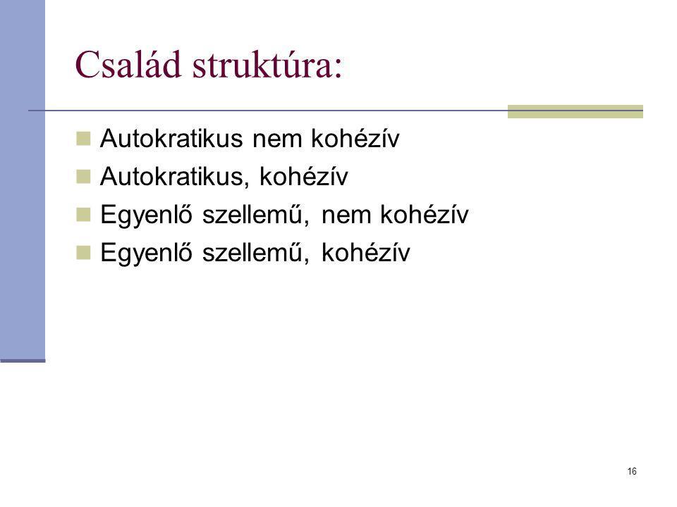 Család struktúra: Autokratikus nem kohézív Autokratikus, kohézív Egyenlő szellemű, nem kohézív Egyenlő szellemű, kohézív 16