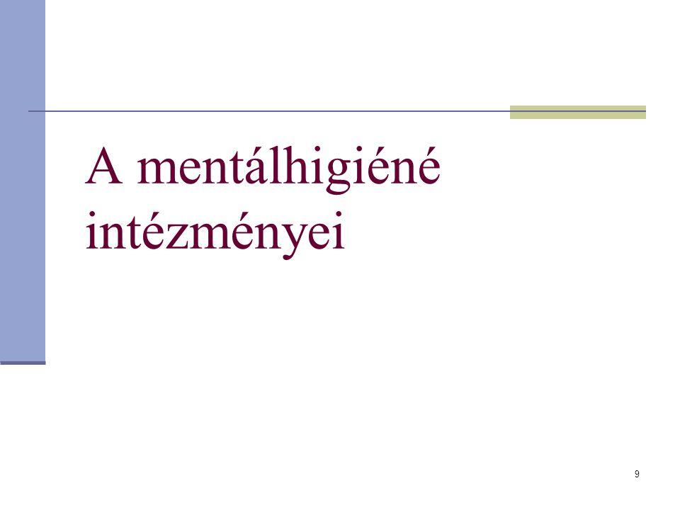 A mentálhigiéné intézményei 9