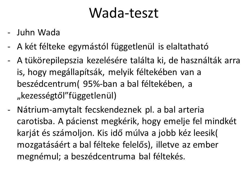Wada-teszt -Juhn Wada -A két félteke egymástól függetlenül is elaltatható -A tükörepilepszia kezelésére találta ki, de használták arra is, hogy megáll