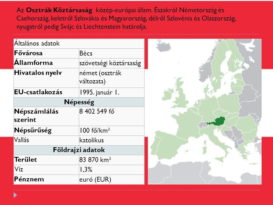 Az Osztrák Köztársaság közép-európai állam. Északról Németország és Csehország, keletről Szlovákia és Magyarország, délről Szlovénia és Olaszország, n