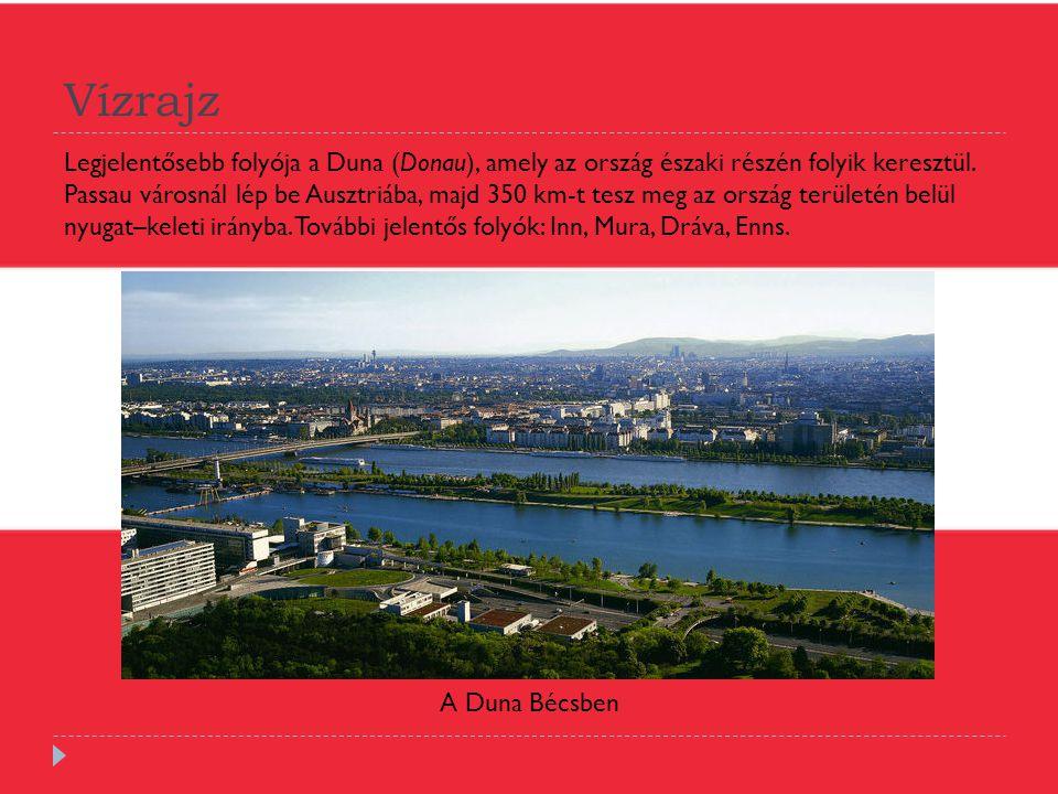 Vízrajz Legjelentősebb folyója a Duna (Donau), amely az ország északi részén folyik keresztül. Passau városnál lép be Ausztriába, majd 350 km-t tesz m