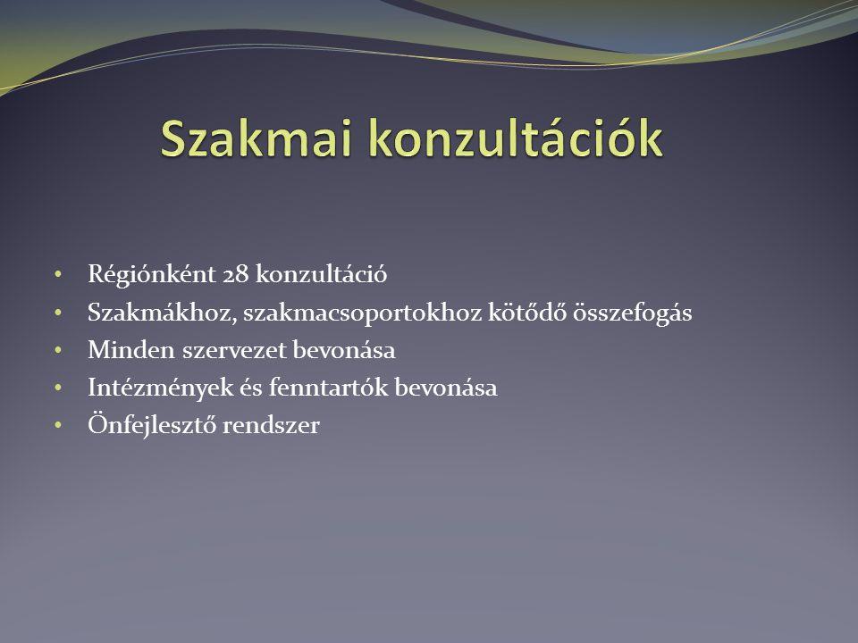 Régiónként 28 konzultáció Szakmákhoz, szakmacsoportokhoz kötődő összefogás Minden szervezet bevonása Intézmények és fenntartók bevonása Önfejlesztő rendszer