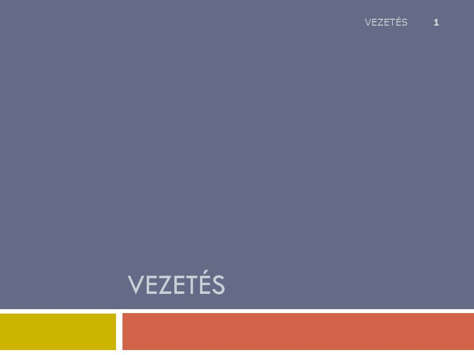 VEZETÉS 1