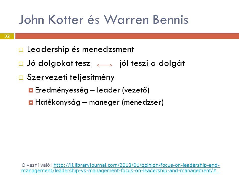 John Kotter és Warren Bennis  Leadership és menedzsment  Jó dolgokat tesz jól teszi a dolgát  Szervezeti teljesítmény  Eredményesség – leader (vezető)  Hatékonyság – maneger (menedzser) Olvasni való: http://lj.libraryjournal.com/2013/01/opinion/focus-on-leadership-and- management/leadership-vs-management-focus-on-leadership-and-management/#_http://lj.libraryjournal.com/2013/01/opinion/focus-on-leadership-and- management/leadership-vs-management-focus-on-leadership-and-management/#_ 32