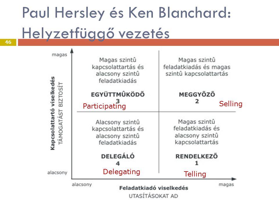 Paul Hersley és Ken Blanchard: Helyzetfüggő vezetés VEZETÉS 46 Telling Delegating Selling Participating