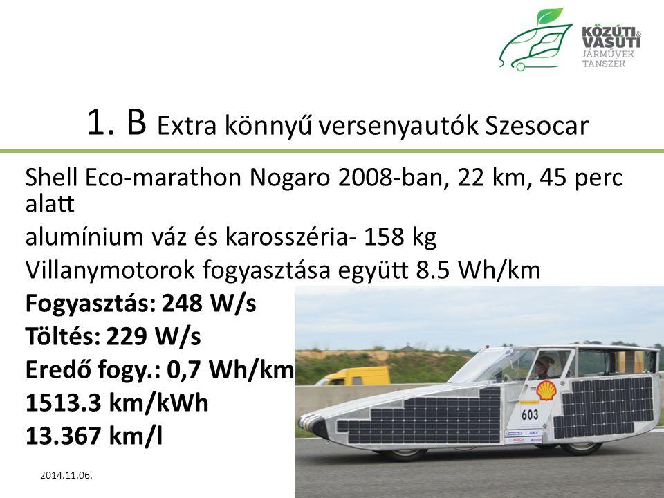 1. B Extra könnyű versenyautók Szesocar Shell Eco-marathon Nogaro 2008-ban, 22 km, 45 perc alatt alumínium váz és karosszéria- 158 kg Villanymotorok f