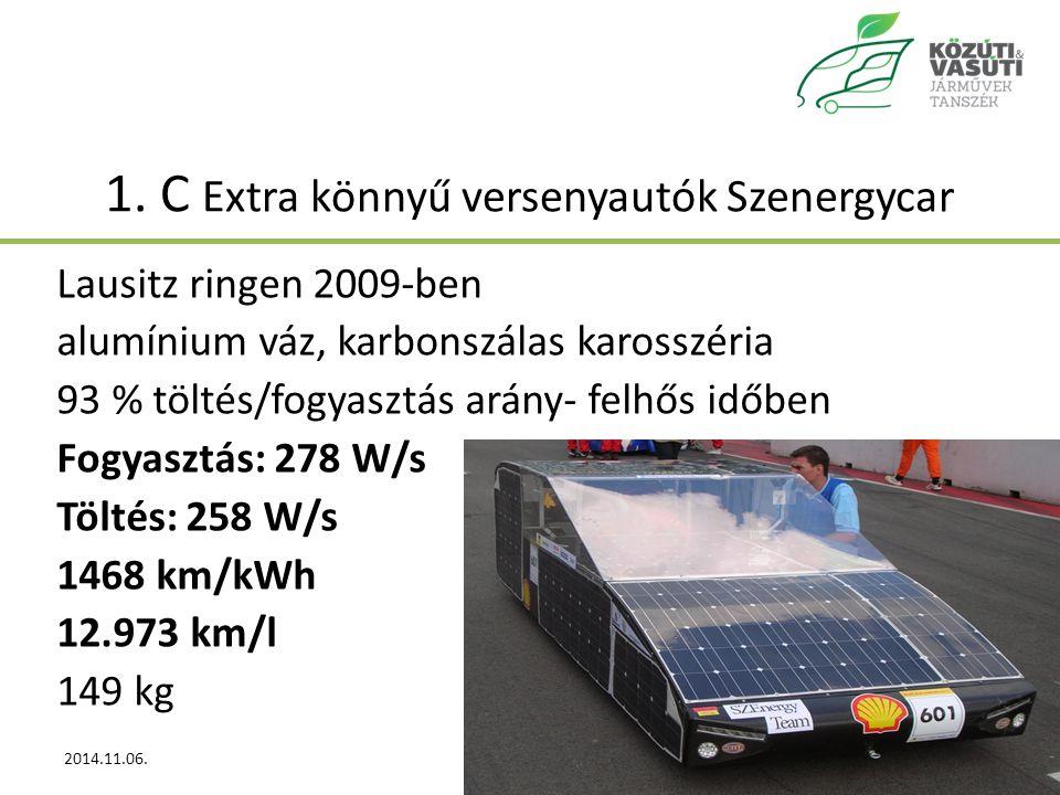 1. C Extra könnyű versenyautók Szenergycar Lausitz ringen 2009-ben alumínium váz, karbonszálas karosszéria 93 % töltés/fogyasztás arány- felhős időben