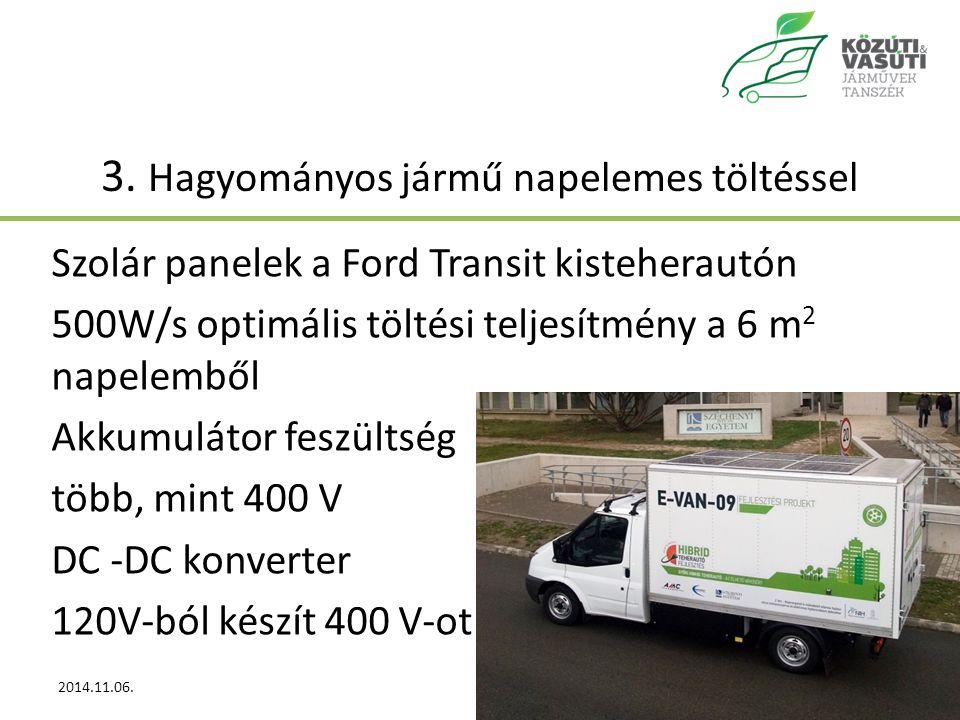 3. Hagyományos jármű napelemes töltéssel Szolár panelek a Ford Transit kisteherautón 500W/s optimális töltési teljesítmény a 6 m 2 napelemből Akkumulá