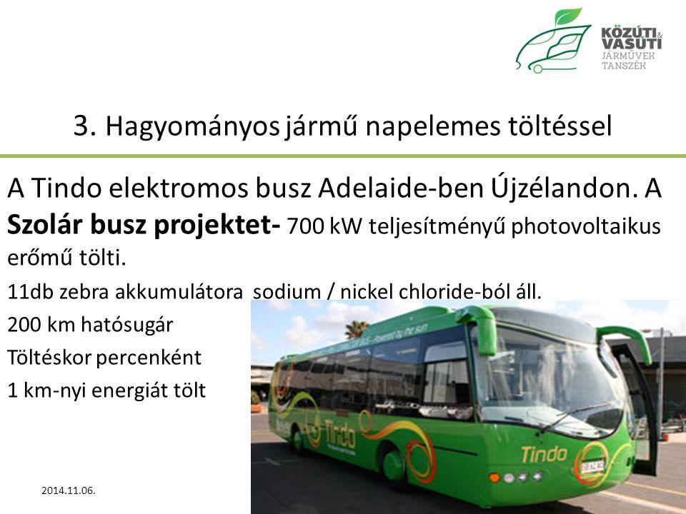 3.Hagyományos jármű napelemes töltéssel A Tindo elektromos busz Adelaide-ben Újzélandon.