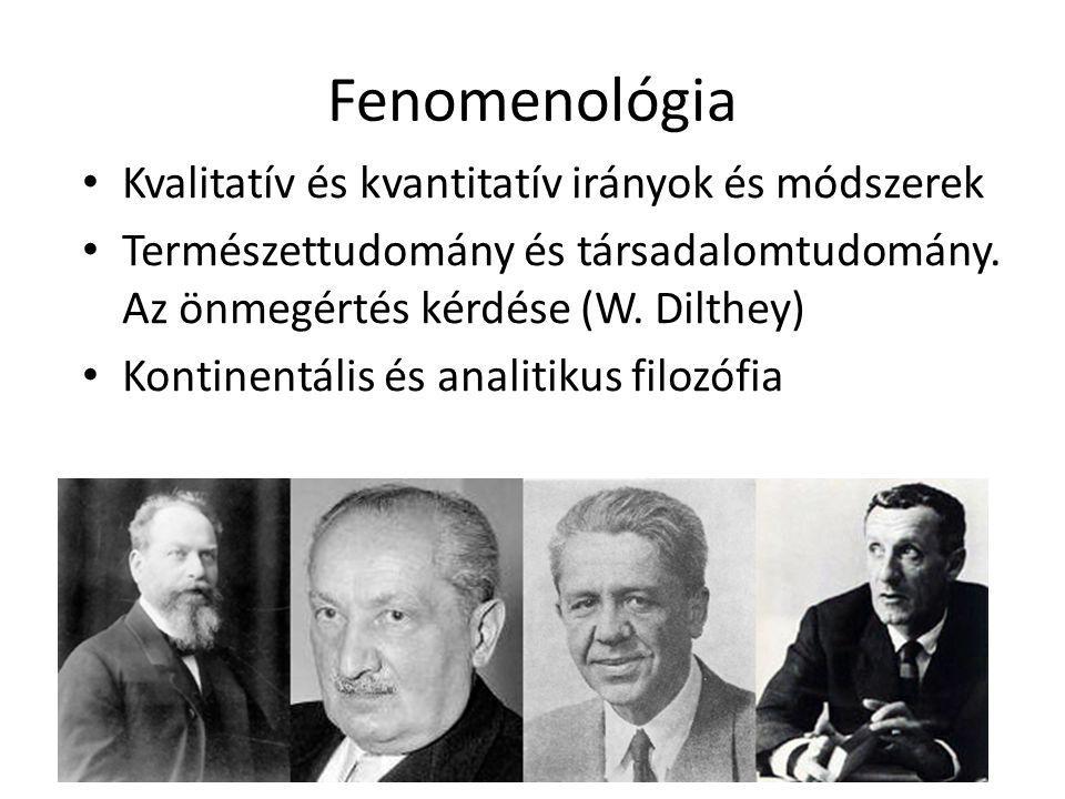 Fenomenológia Kvalitatív és kvantitatív irányok és módszerek Természettudomány és társadalomtudomány. Az önmegértés kérdése (W. Dilthey) Kontinentális
