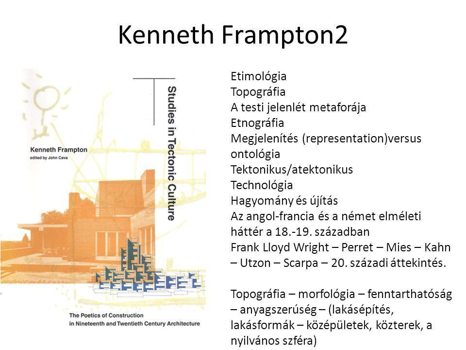 Kenneth Frampton2 Etimológia Topográfia A testi jelenlét metaforája Etnográfia Megjelenítés (representation)versus ontológia Tektonikus/atektonikus Te