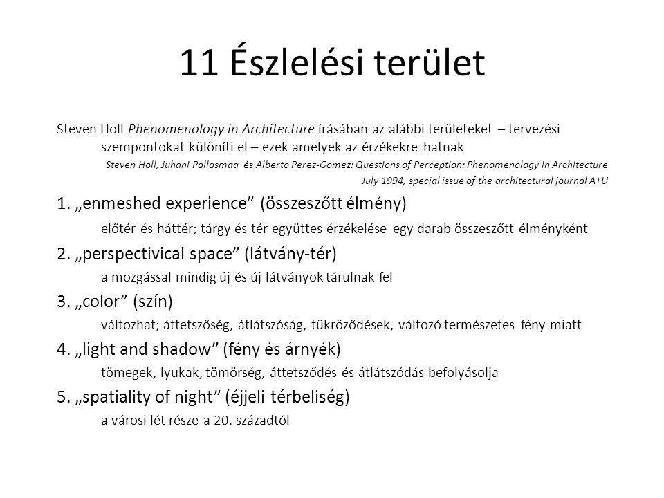 11 Észlelési terület Steven Holl Phenomenology in Architecture írásában az alábbi területeket – tervezési szempontokat különíti el – ezek amelyek az é
