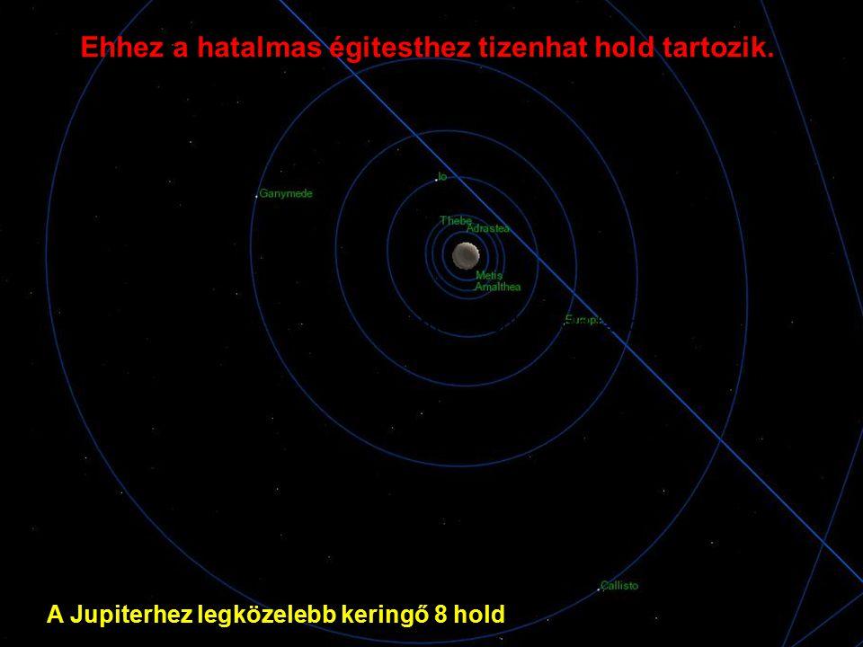 A Jupiterhez legközelebb keringő 8 hold Ehhez a hatalmas égitesthez tizenhat hold tartozik.