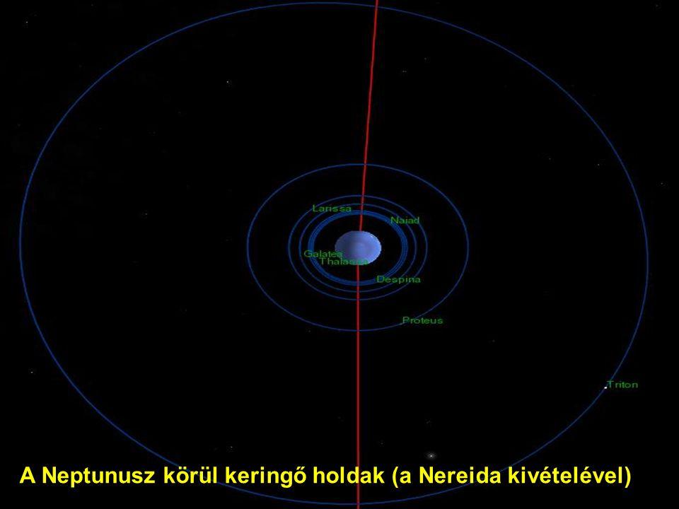 A Neptunusz körül keringő holdak (a Nereida kivételével)