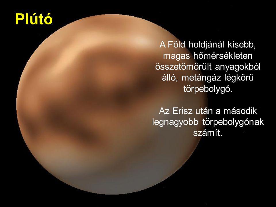 Plútó A Föld holdjánál kisebb, magas hőmérsékleten összetömörült anyagokból álló, metángáz légkörű törpebolygó.