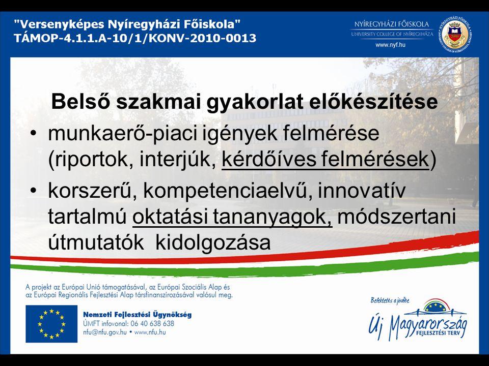 Belső szakmai gyakorlat előkészítése munkaerő-piaci igények felmérése (riportok, interjúk, kérdőíves felmérések) korszerű, kompetenciaelvű, innovatív