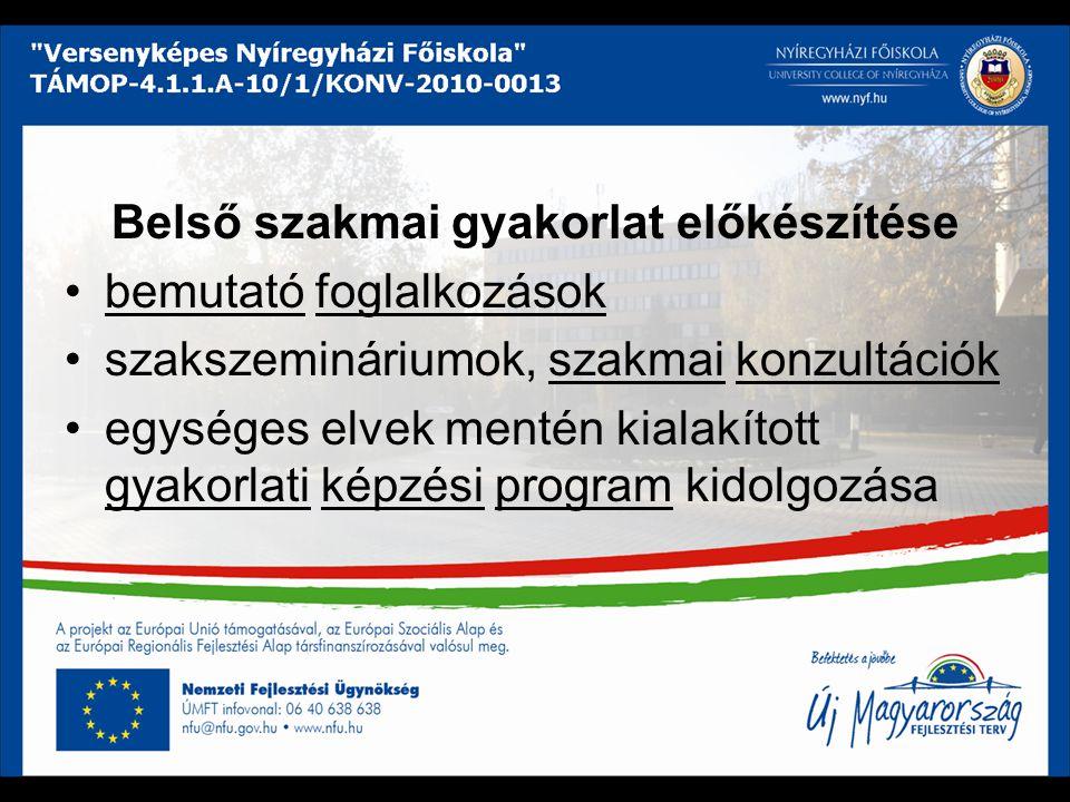 Belső szakmai gyakorlat előkészítése bemutató foglalkozások szakszemináriumok, szakmai konzultációk egységes elvek mentén kialakított gyakorlati képzé