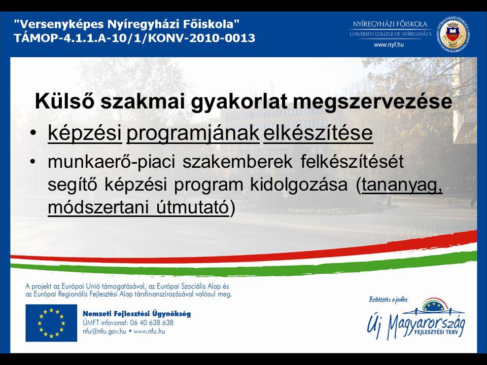 Külső szakmai gyakorlat megszervezése képzési programjának elkészítése munkaerő-piaci szakemberek felkészítését segítő képzési program kidolgozása (ta