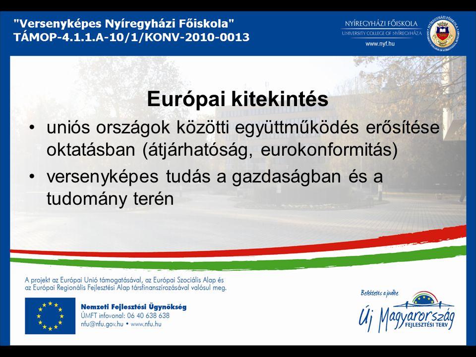 Európai kitekintés uniós országok közötti együttműködés erősítése oktatásban (átjárhatóság, eurokonformitás) versenyképes tudás a gazdaságban és a tud