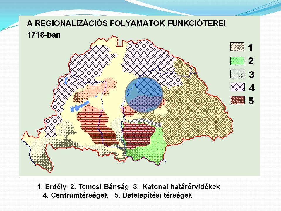 1. Erdély 2. Temesi Bánság 3. Katonai határőrvidékek 4. Centrumtérségek 5. Betelepítési térségek