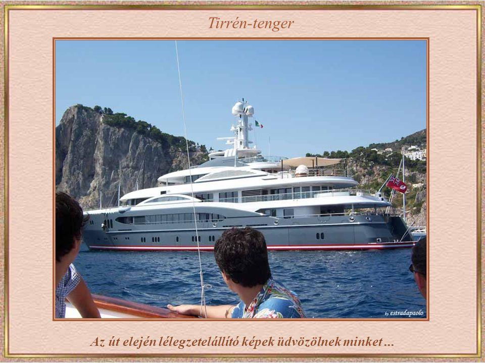 A Nápolyból induló hajóval 40 perc alatt jutunk el Capri szigetére.