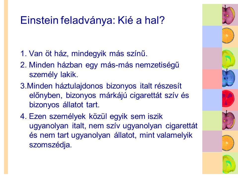 Einstein feladványa: Kié a hal? 1. Van öt ház, mindegyik más színű. 2. Minden házban egy más-más nemzetiségű személy lakik. 3.Minden háztulajdonos biz