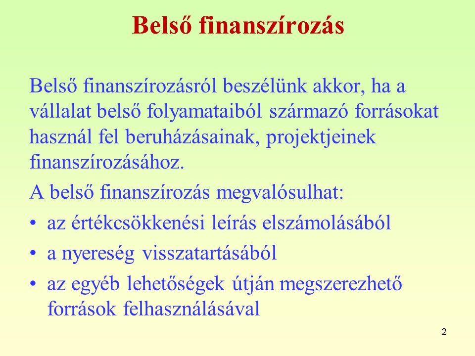 2 Belső finanszírozás Belső finanszírozásról beszélünk akkor, ha a vállalat belső folyamataiból származó forrásokat használ fel beruházásainak, projek