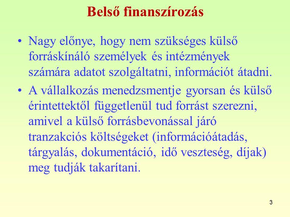 Belső finanszírozás Nagy előnye, hogy nem szükséges külső forráskínáló személyek és intézmények számára adatot szolgáltatni, információt átadni. A vál