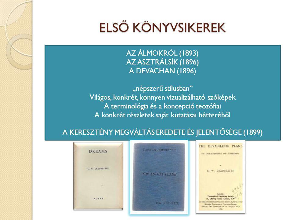 """ELSŐ KÖNYVSIKEREK AZ ÁLMOKRÓL (1893) AZ ASZTRÁLSÍK (1896) A DEVACHAN (1896) """"népszerű stílusban Világos, konkrét, könnyen vizualizálható szóképek A terminológia és a koncepció teozófiai A konkrét részletek saját kutatásai hétteréből A KERESZTÉNY MEGVÁLTÁS EREDETE ÉS JELENTŐSÉGE (1899)"""