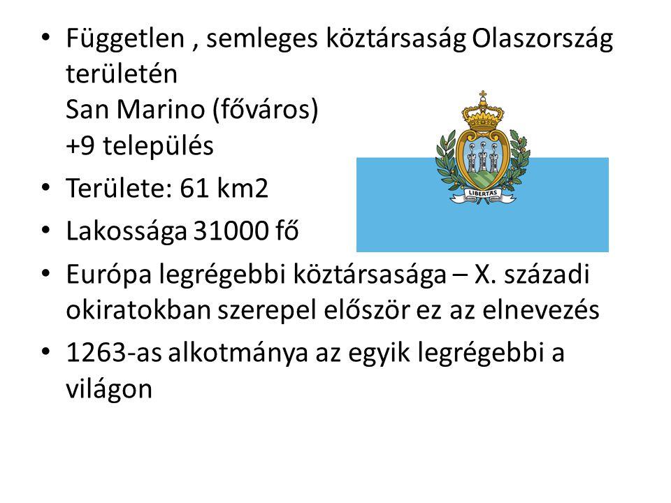 Független, semleges köztársaság Olaszország területén San Marino (főváros) +9 település Területe: 61 km2 Lakossága 31000 fő Európa legrégebbi köztársasága – X.