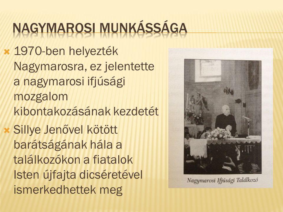  1970-ben helyezték Nagymarosra, ez jelentette a nagymarosi ifjúsági mozgalom kibontakozásának kezdetét  Sillye Jenővel kötött barátságának hála a találkozókon a fiatalok Isten újfajta dicséretével ismerkedhettek meg