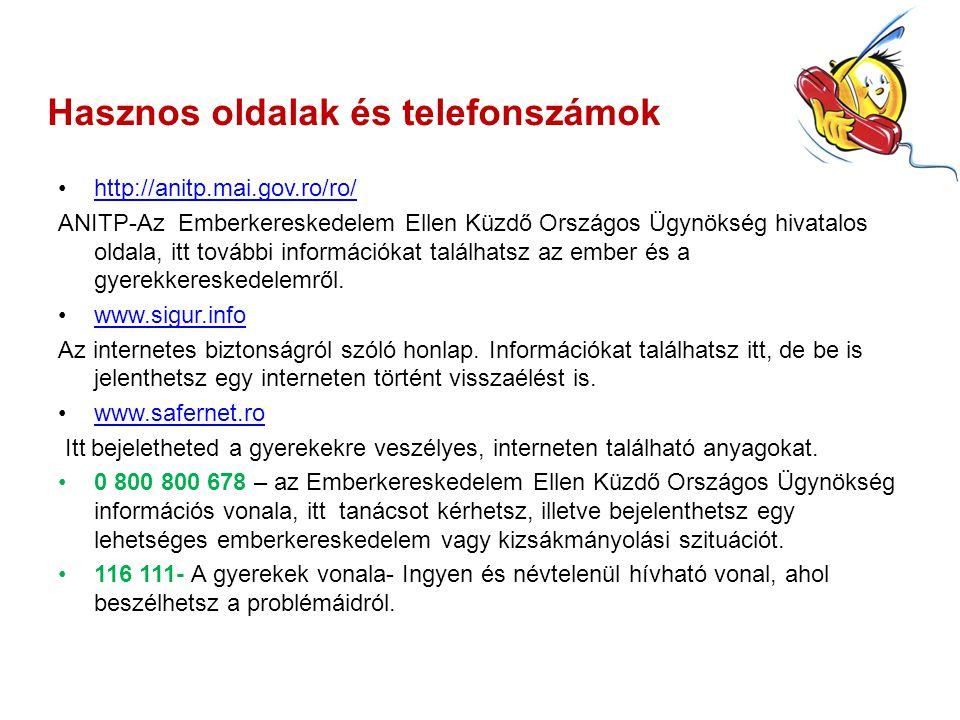 Hasznos oldalak és telefonszámok http://anitp.mai.gov.ro/ro/ ANITP-Az Emberkereskedelem Ellen Küzdő Országos Ügynökség hivatalos oldala, itt további információkat találhatsz az ember és a gyerekkereskedelemről.