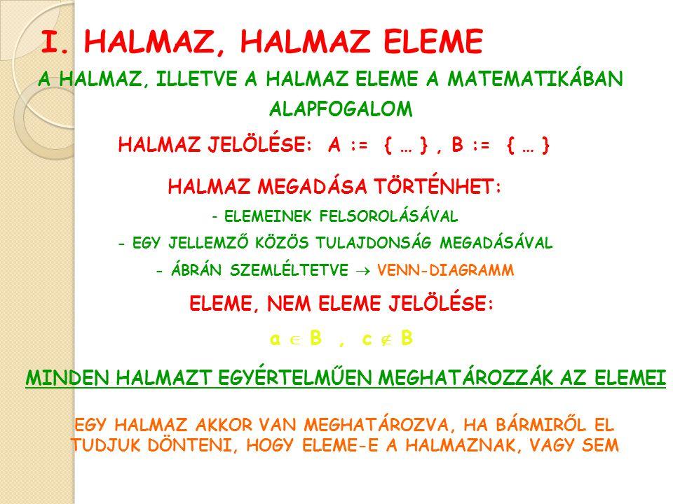 I. HALMAZ, HALMAZ ELEME A HALMAZ, ILLETVE A HALMAZ ELEME A MATEMATIKÁBAN ALAPFOGALOM ELEME, NEM ELEME JELÖLÉSE: a  B, c  B HALMAZ JELÖLÉSE: A := { …