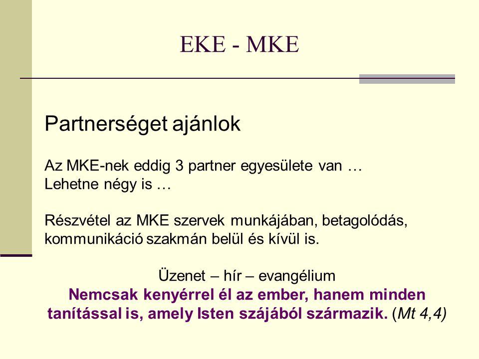 EKE - MKE Partnerséget ajánlok Az MKE-nek eddig 3 partner egyesülete van … Lehetne négy is … Részvétel az MKE szervek munkájában, betagolódás, kommuni