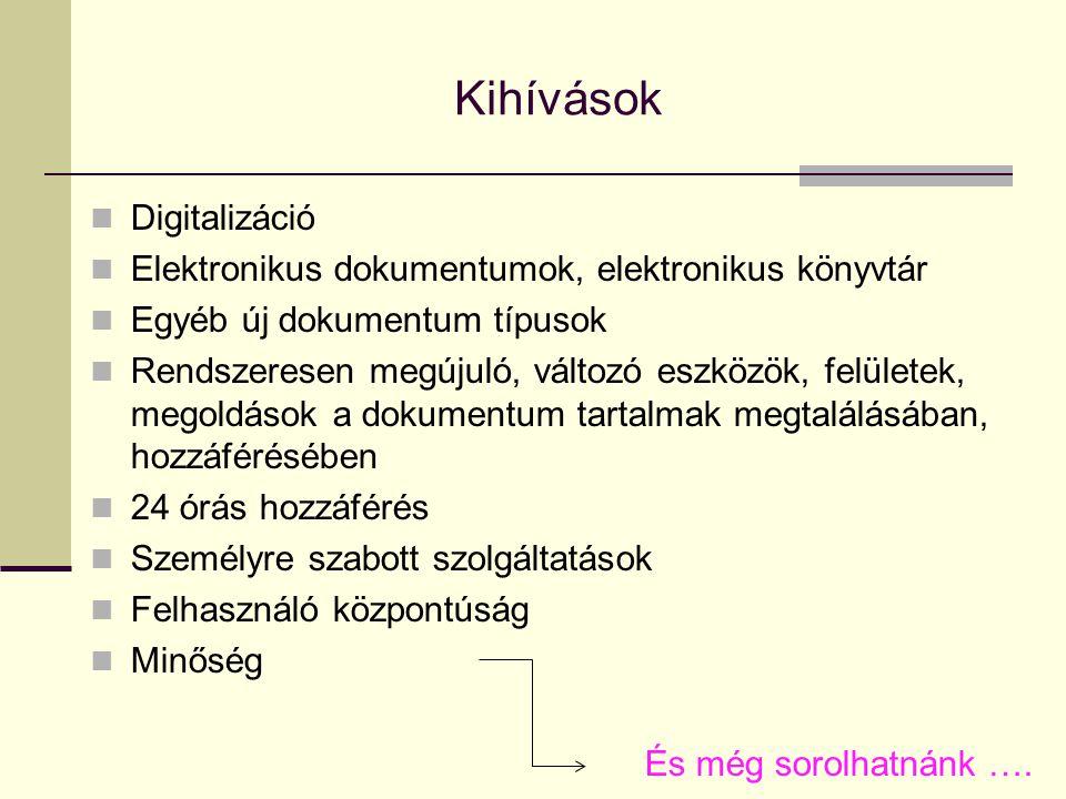 Kihívások Digitalizáció Elektronikus dokumentumok, elektronikus könyvtár Egyéb új dokumentum típusok Rendszeresen megújuló, változó eszközök, felülete