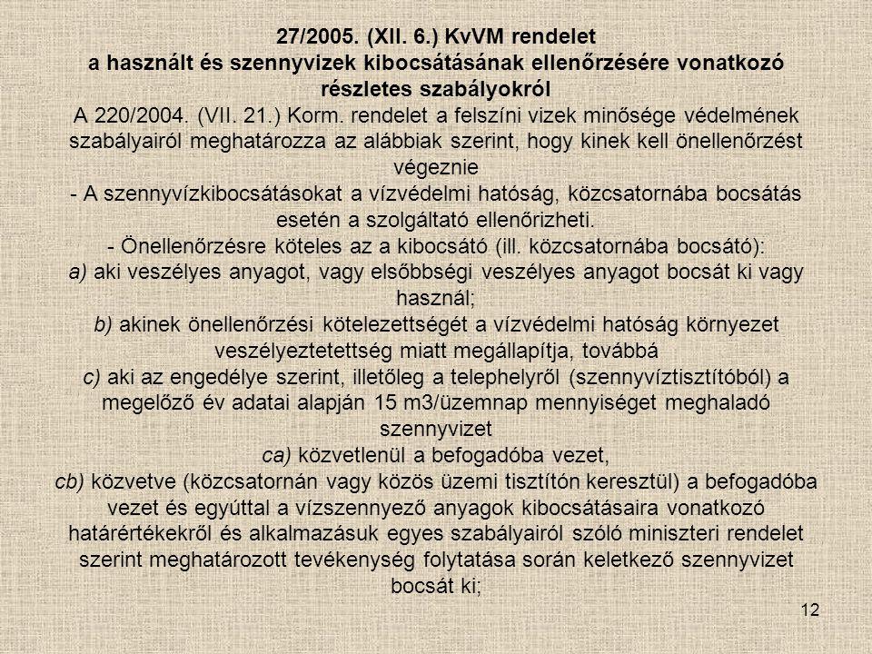 12 27/2005. (XII. 6.) KvVM rendelet a használt és szennyvizek kibocsátásának ellenőrzésére vonatkozó részletes szabályokról A 220/2004. (VII. 21.) Kor