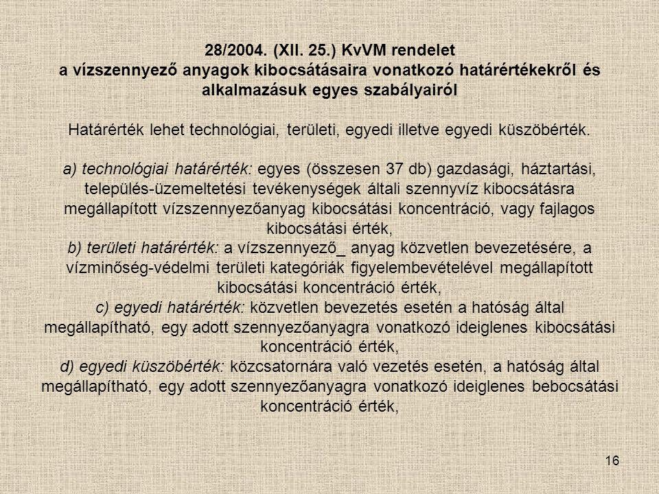 16 28/2004. (XII. 25.) KvVM rendelet a vízszennyező anyagok kibocsátásaira vonatkozó határértékekről és alkalmazásuk egyes szabályairól Határérték leh