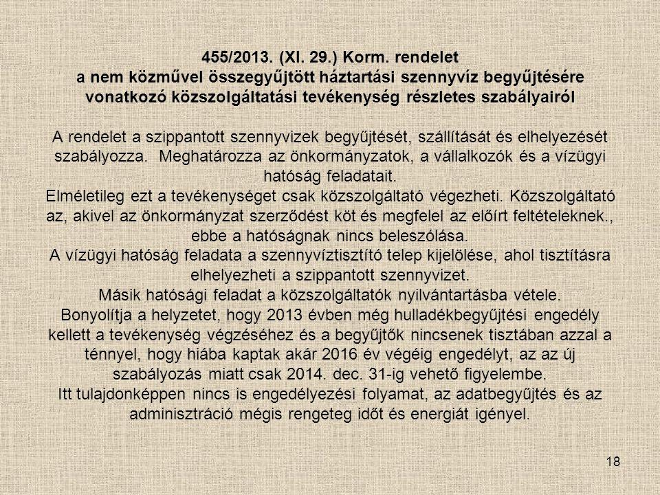 18 455/2013. (XI. 29.) Korm. rendelet a nem közművel összegyűjtött háztartási szennyvíz begyűjtésére vonatkozó közszolgáltatási tevékenység részletes