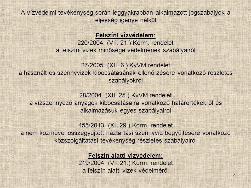 5 Felszíni vizek: 220/2004.(VII. 21.) Korm.