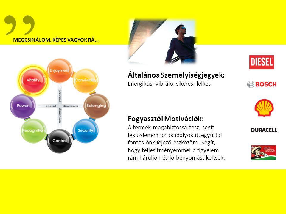 Általános Személyiségjegyek: Energikus, vibráló, sikeres, lelkes Fogyasztói Motivációk: A termék magabiztossá tesz, segít leküzdenem az akadályokat, egyúttal fontos önkifejező eszközöm.